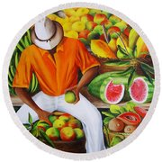Manuel The Caribbean Fruit Vendor  Round Beach Towel