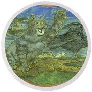 Manx Cat Round Beach Towel