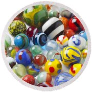 Many Beautiful Marbles Round Beach Towel by Garry Gay