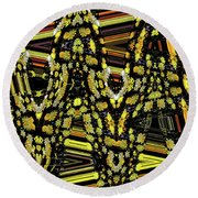 Many Flowers Abstract Round Beach Towel