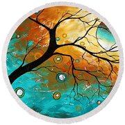 Many Moons Ago By Madart Round Beach Towel
