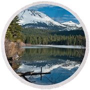 Manzanita Lake Reflects On Mount Lassen Round Beach Towel