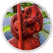 Maori Guardian Round Beach Towel