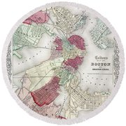 Map: Boston, 1865 Round Beach Towel