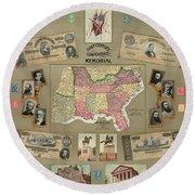Map: Confederate States Round Beach Towel