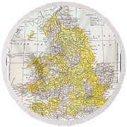 Map: England & Wales Round Beach Towel