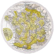 Map: France Round Beach Towel