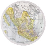 Map: Mexico Round Beach Towel