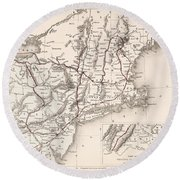Map: Northeast U.s.a Round Beach Towel