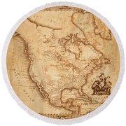 Map Of America 1800 Round Beach Towel