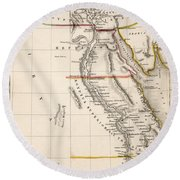 Map Of Aegyptus Antiqua Round Beach Towel by Sydney Hall