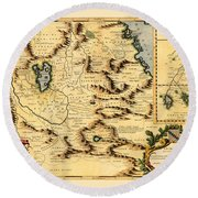 Map Of Africa 1690 Round Beach Towel