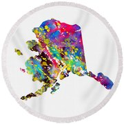 Map Of Alaska-colorful Round Beach Towel