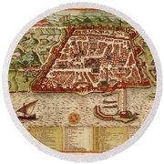 Map Of Algiers 1541 Round Beach Towel