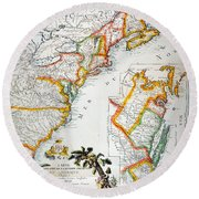 Map Of America, 1779 Round Beach Towel