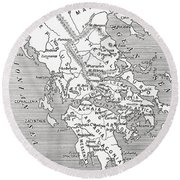 Map Of Ancient Greece Round Beach Towel