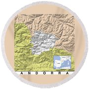 Map Of Andorra Round Beach Towel