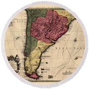 Map Of Argentina 1700 Round Beach Towel