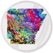 Map Of Arkansas-colorful Round Beach Towel