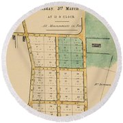 Map Of Auckland 1863b Round Beach Towel