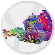 Map Of Austria-colorful Round Beach Towel