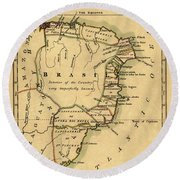 Map Of Brazil 1808 Round Beach Towel