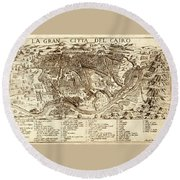 Map Of Cairo 1575 Round Beach Towel
