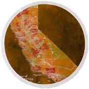 Map Of California, 1898, Orange Background Round Beach Towel