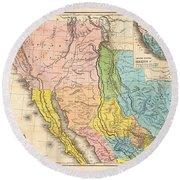 Map Of California New Mexico Texas  1849 Round Beach Towel