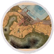 Map Of Cape Town 1947 Round Beach Towel