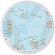 Map Of Cape Verde Round Beach Towel