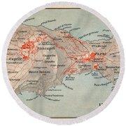 Map Of Capri 1909 Round Beach Towel