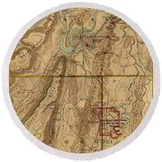 Map Of Chattanooga 1895 Round Beach Towel