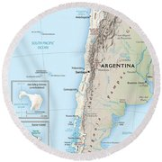 Map Of Chile 2  Round Beach Towel