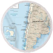 Map Of Chile Round Beach Towel