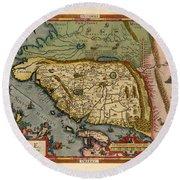 Map Of China 1590 Round Beach Towel