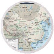 Map Of China 2 Round Beach Towel