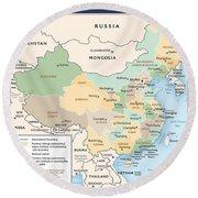 Map Of China Round Beach Towel