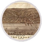 Map Of Cleveland 1877b Round Beach Towel