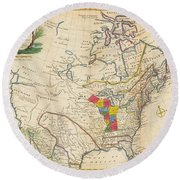 Map Of Colonial North America  Round Beach Towel
