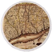 Map Of Connecticut 1795 Round Beach Towel