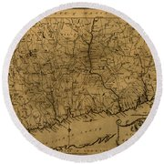 Map Of Connecticut 1797 Round Beach Towel