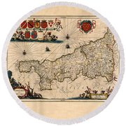 Map Of Cornwall 1646 Round Beach Towel