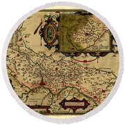 Map Of Cremona 1579 Round Beach Towel