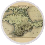 Map Of Crimea 1815 Round Beach Towel