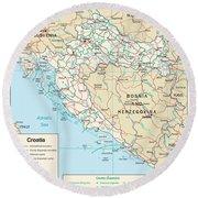 Map Of Croatia Round Beach Towel