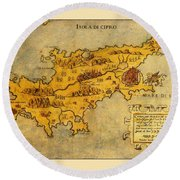 Map Of Cyprus 1562 Round Beach Towel