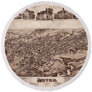 Map Of Dover 1885 Round Beach Towel