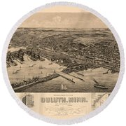 Map Of Duluth 1893 Round Beach Towel