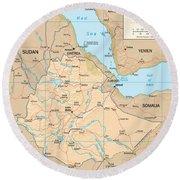 Map Of Ethiopia Round Beach Towel